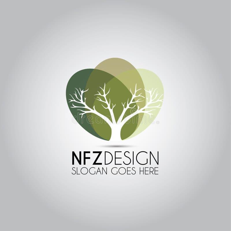 Ellipsformig malllogo för träd royaltyfri illustrationer
