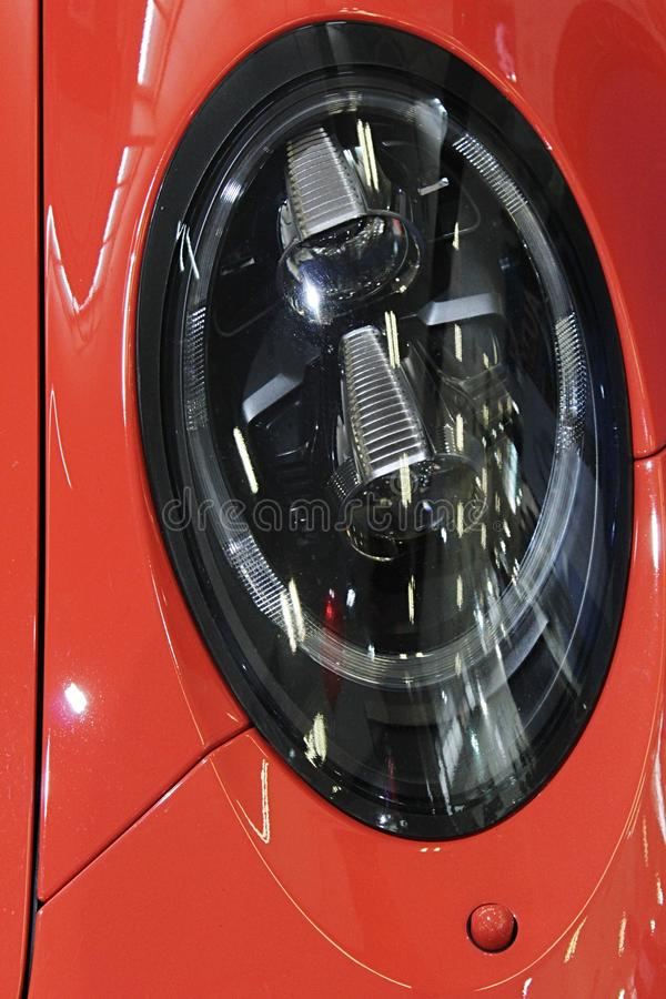 Elliptic shape of front high beam LED lights on modern exlusive german sport car. Displayed on car expo during april 2017 royalty free stock photos