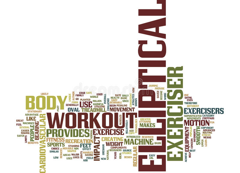 Elliptical Exerciser Text Background Word Cloud Concept stock illustration