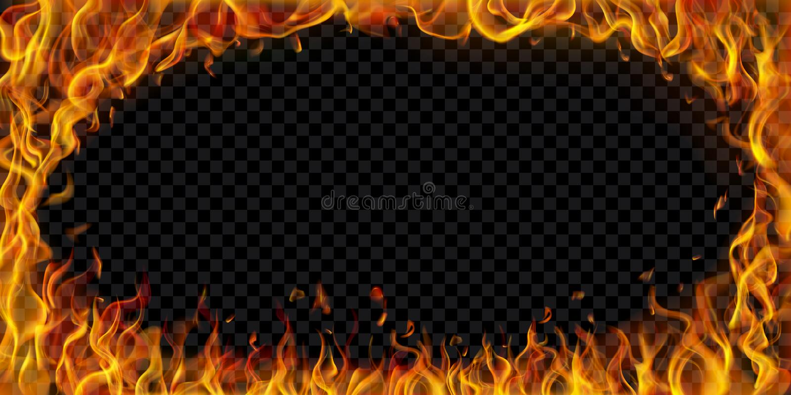 Elliptical frame made of fire stock illustration