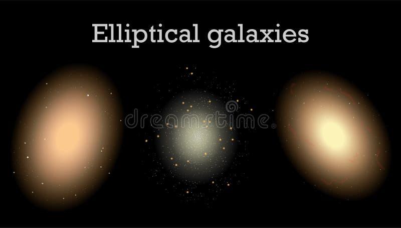 Elliptical galaxies, vector illustration of space. Different types of elliptical galaxies, vector illustration of space and universe stock illustration