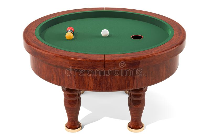 Elliptical pool table, billiards. 3D rendering. Isolated on white background stock illustration