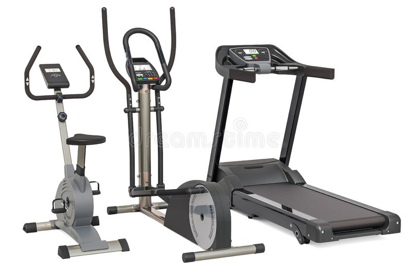 Elliptical trainer, treadmill and exercise bike. 3D rendering isolated on white background. Elliptical trainer, treadmill and exercise bike. 3D rendering vector illustration