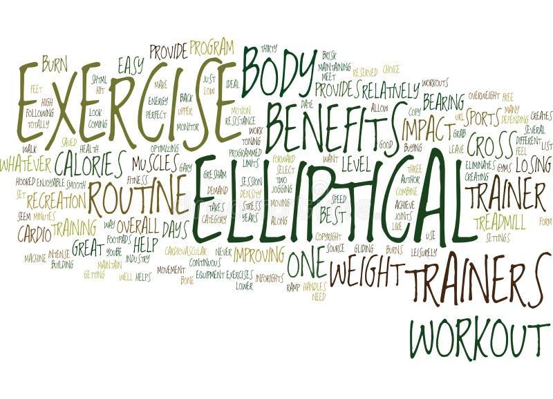 Elliptisches Trainer-Benefits Word Cloud-Konzept lizenzfreie abbildung