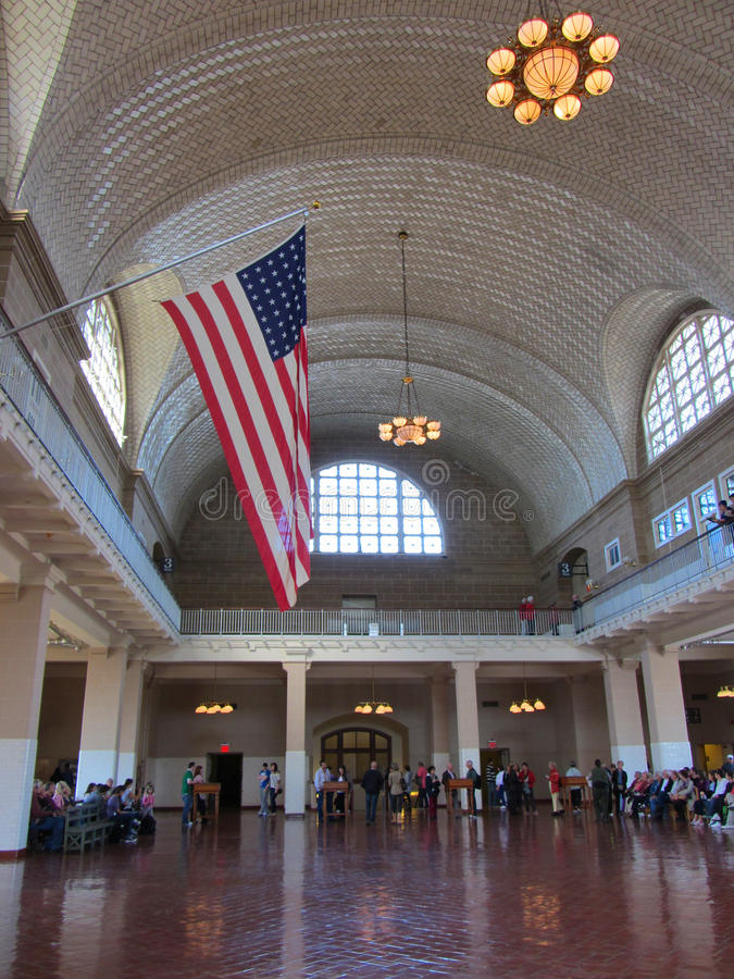 Ellis Island Museum Great Hall imagem de stock royalty free