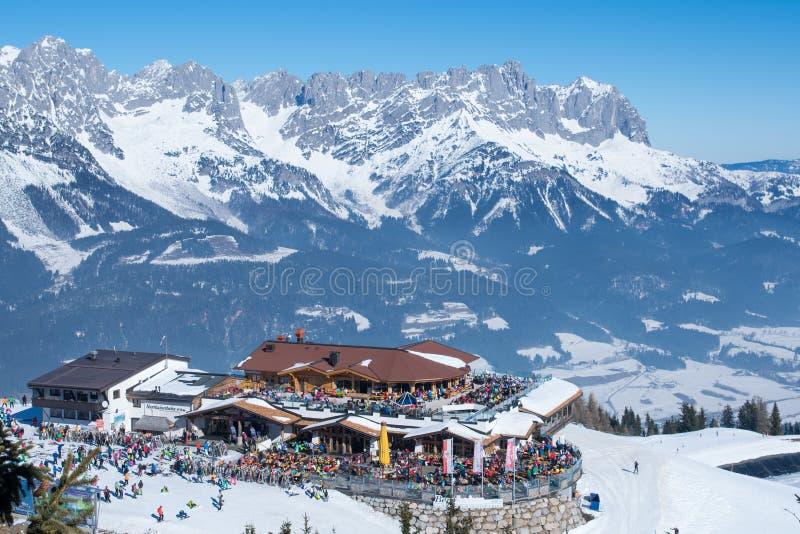 Ellmau阿尔卑斯滑雪胜地在奥地利 库存图片