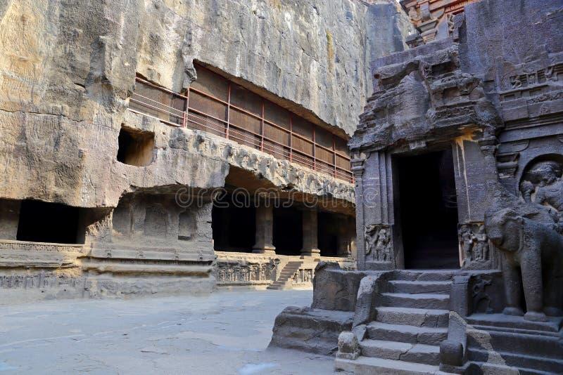 Ellora洞,摇滚删节的寺庙,奥郎加巴德,马哈拉施特拉寺庙在印度 免版税图库摄影
