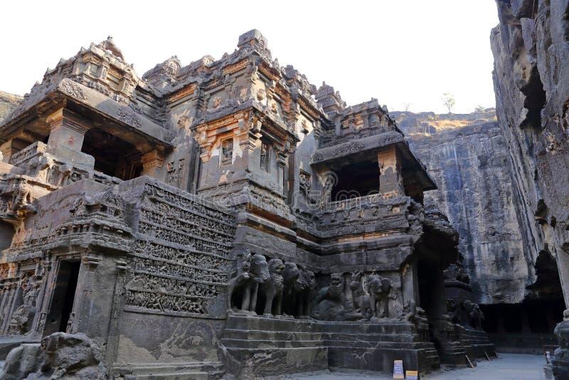 Ellora洞,摇滚删节的寺庙,奥郎加巴德,马哈拉施特拉寺庙在印度 库存照片
