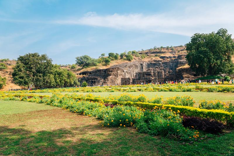 Ellora Caves ancient ruins in India stock photo