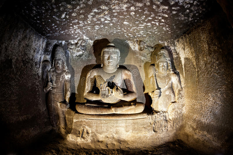 Ellora caves in India stock photography