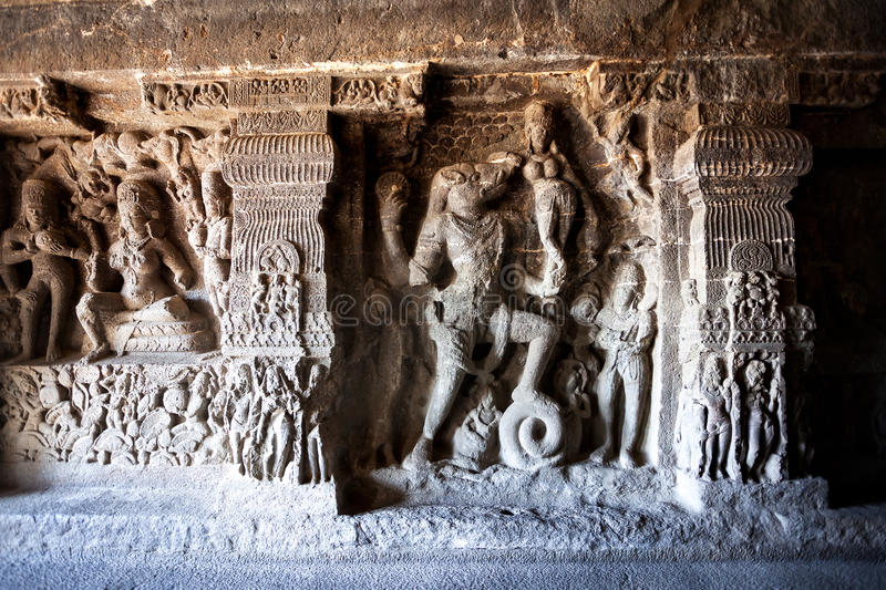 Ellora caves in India royalty free stock photos