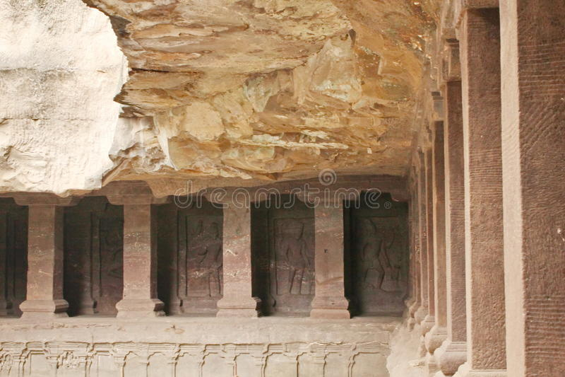 Ellora Caves, Inside view of the Kailasa Temple, Hindu Cave No 16,India stock image