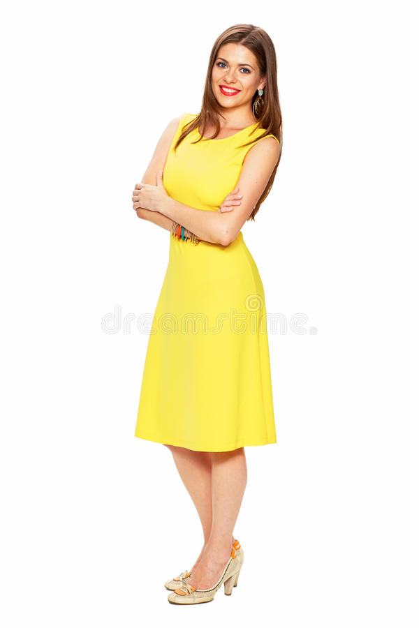 Ellow dress. White background. Young woman fashion stock images