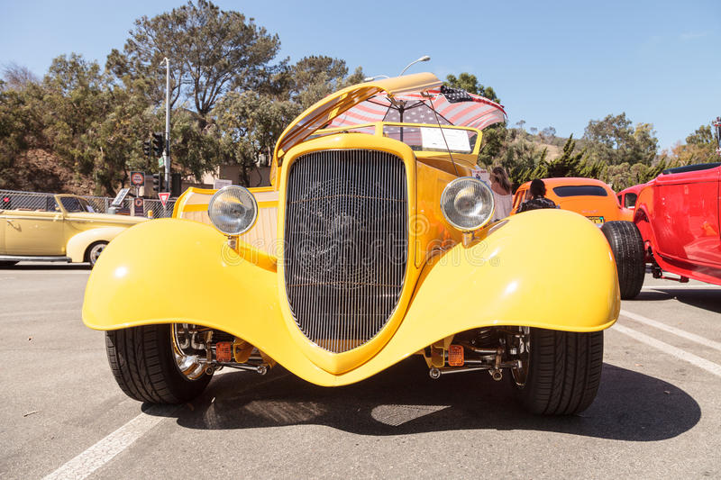 Ellow 1934 Ford Roadster. Laguna Beach, CA, USA - October 2, 2016: Yellow 1934 Ford Roadster owned by Mauricio Vivanco and displayed at the Rotary Club of Laguna stock image