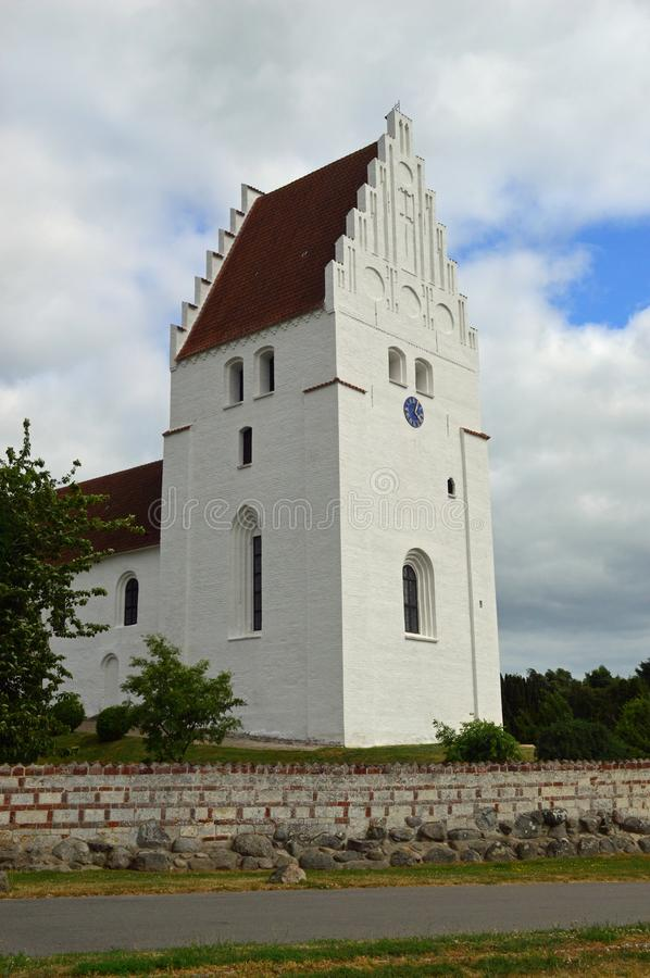 Elmelunde Church Møn. Elmelunde Church, famous for its frescos, is located in the village of Elmelunde, Møn, in southeastern Denmark. It stands high above royalty free stock images