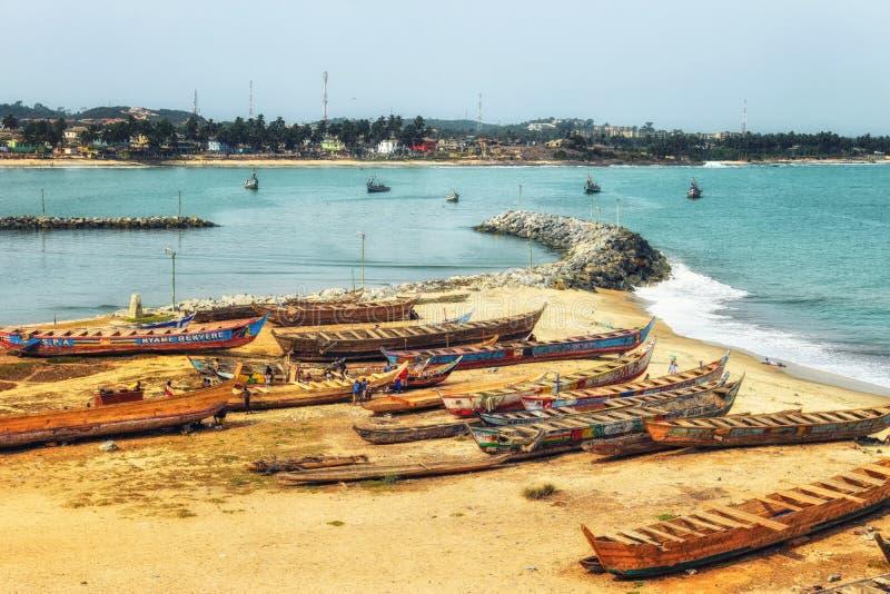 Boats on the coast of Cape Coast, Ghana royalty free stock photo