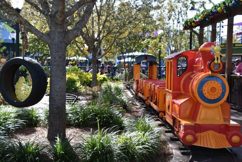 Elmo`s Choo Choo Train at Sesame Street Land at SeaWorld Orlando in Florida. USA royalty free stock photography