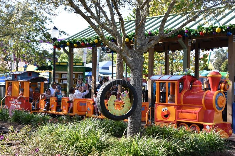 Elmo`s Choo Choo Train at Sesame Street Land at SeaWorld Orlando in Florida. USA stock image