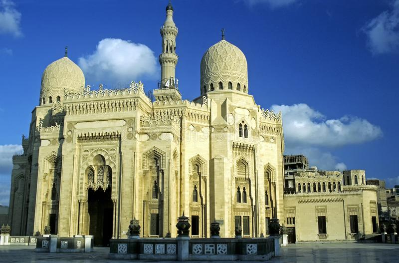 ElMursi阿布阿拔斯清真寺在亚历山大,埃及 库存照片