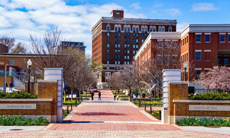 Elmwood park i Elmwood sztuki spacer, Roanoke, Virginia, usa zdjęcie royalty free