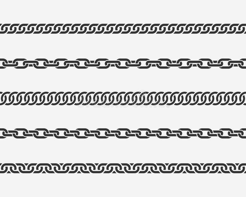 Elo de corrente sem emenda ajustado As correntes diferentes mostram em silhueta preto e branco isoladas no fundo ilustração royalty free