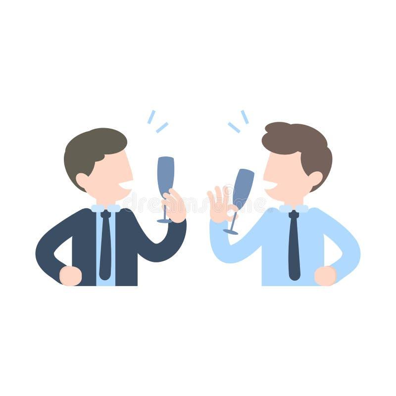 Elogio bebendo que comemora acima, pa do champanhe do homem de negócios do negócio ilustração do vetor
