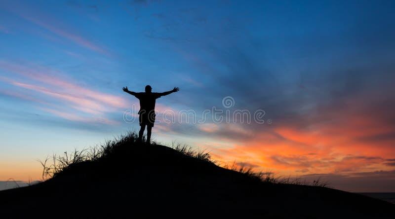 Elogio de puesta del sol de dios imagen de archivo libre de regalías