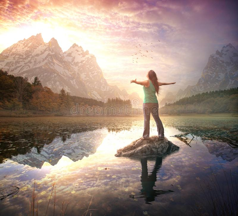 Elogio no nascer do sol da manhã foto de stock royalty free