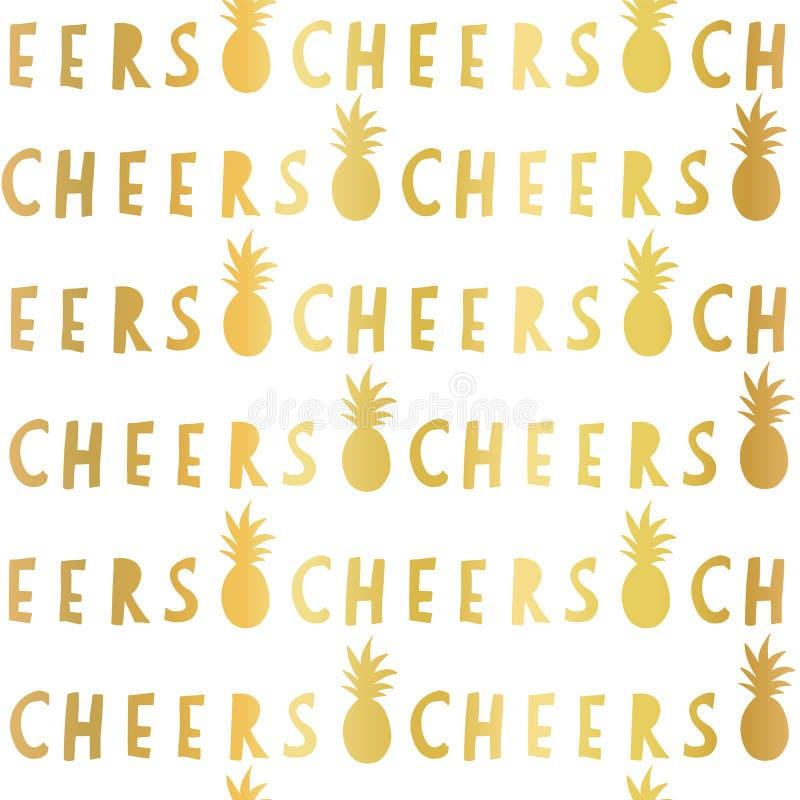 Elogios da folha de ouro que rotulam o teste padrão sem emenda do vetor Abacaxis dourados do slogan dos elogios no fundo branco P ilustração stock