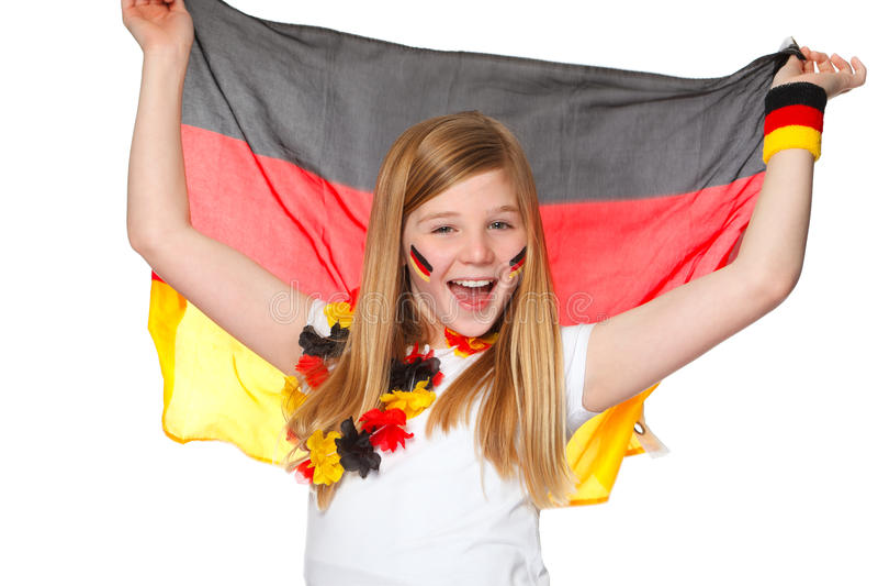 Elogios da menina para a equipe de futebol alemão foto de stock