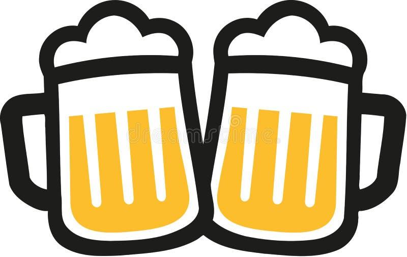 Elogios dos ícones das canecas de cerveja ilustração royalty free