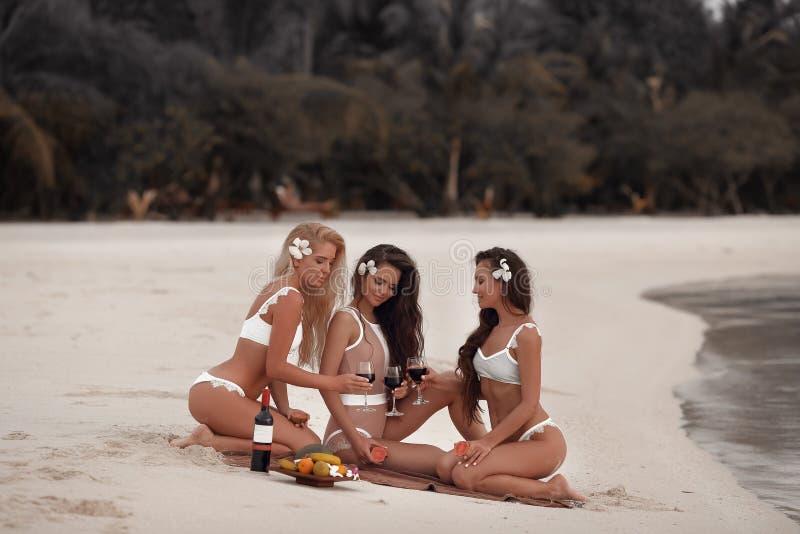 Elogios! A foto exterior de apelar três meninas 'sexy' do biquini bebe o vinho durante um piquenique na praia tropical na ilha de imagens de stock royalty free