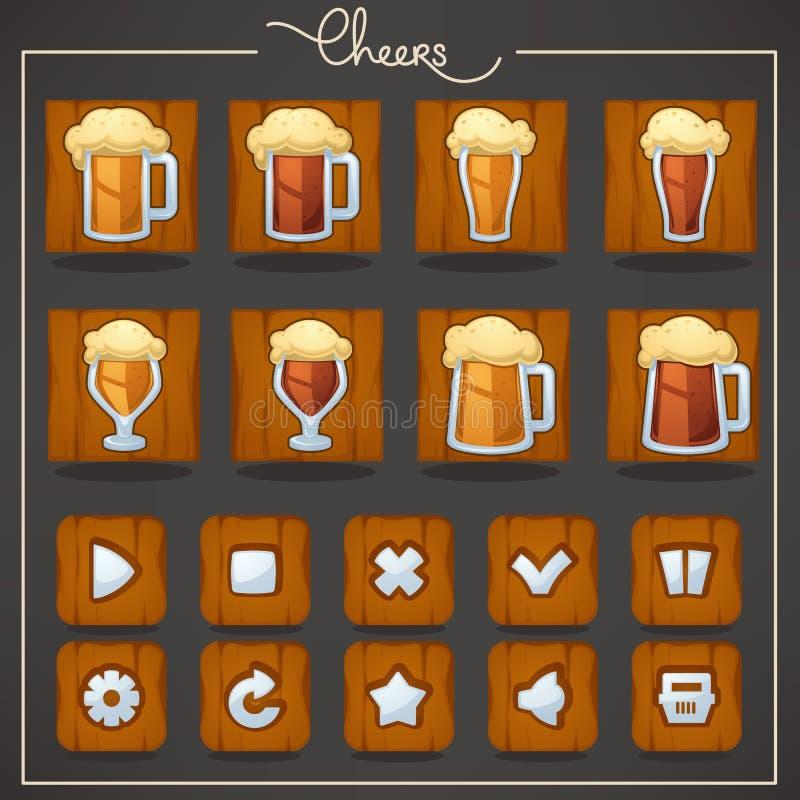 Elogios, vidros e canecas de cerveja do esboço, objetos e botões para você ilustração do vetor