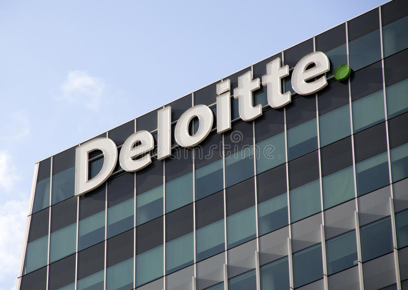 Eloitte office, deloitte does Tax Accounting, Consultanc and Fin. The Hague,Netherlands-september 26, 2015: Deloitte office, deloitte does Tax Accounting stock photo