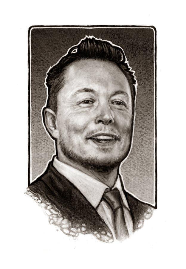 Elon Musk Portrait Illustration royalty free stock photo