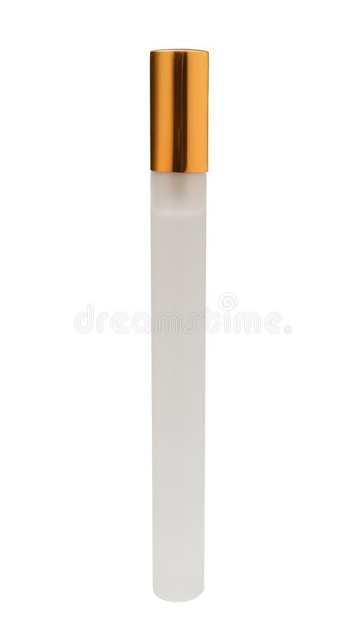 Elongated matte pocket perfume bottle with golden cap isolated on white background closeup.  stock photos