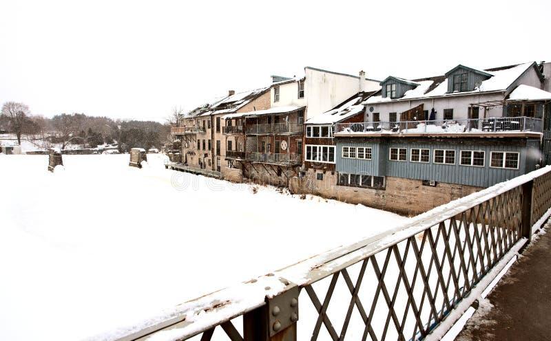 Elora Ontario nell'inverno fotografia stock libera da diritti