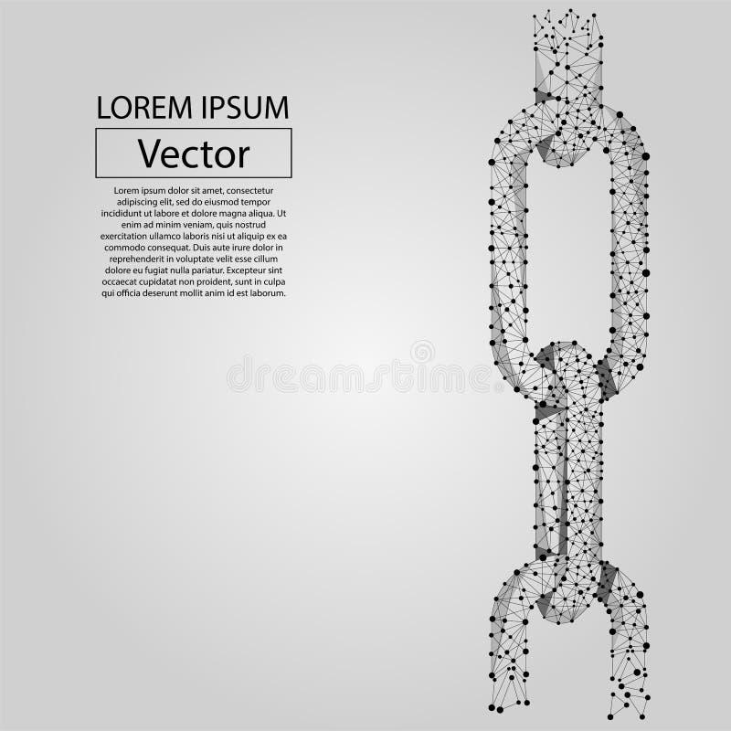 Elos de corrente abstratos da linha e do ponto Baixa ilustração poli do vetor ilustração do vetor