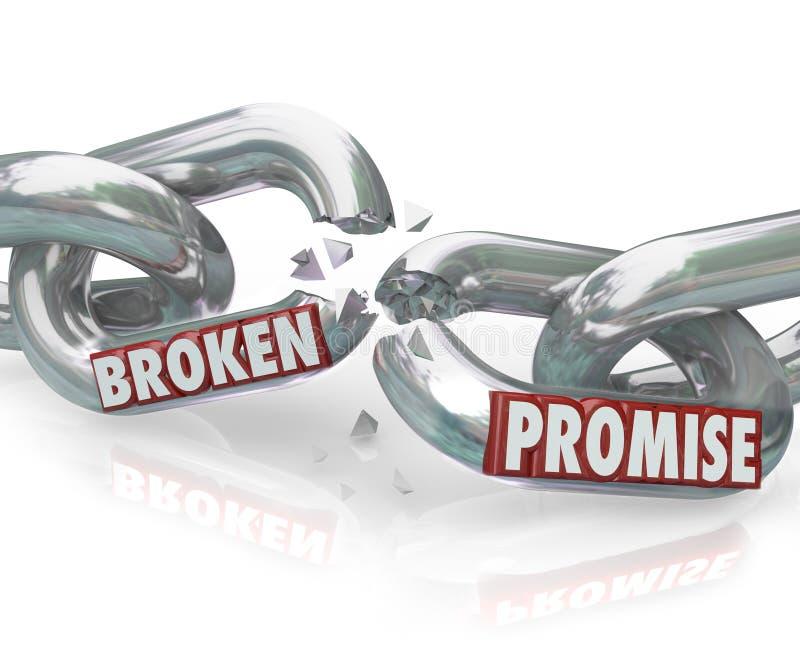 Elos de corrente da promessa quebrada que quebram a violação infiel ilustração do vetor