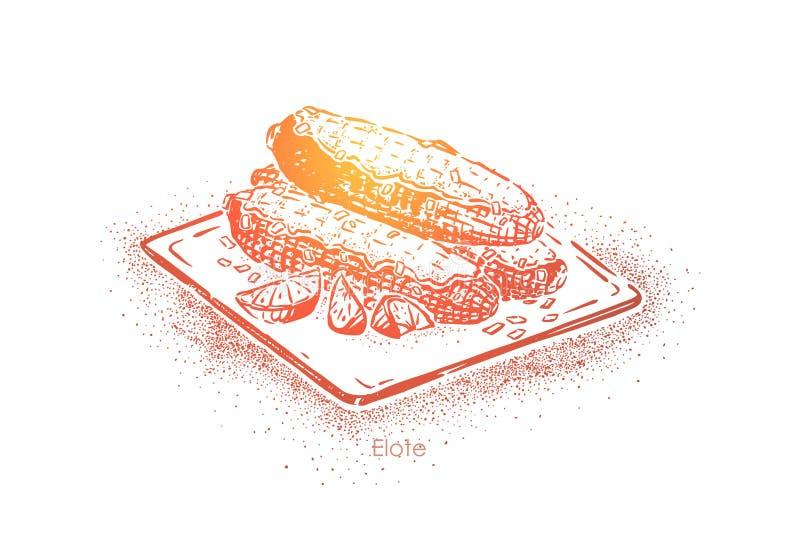 Elote delicioso, mazorca de maíz asada a la parrilla con queso del cotija en el palillo de madera, bocado latinoamericano tradici ilustración del vector