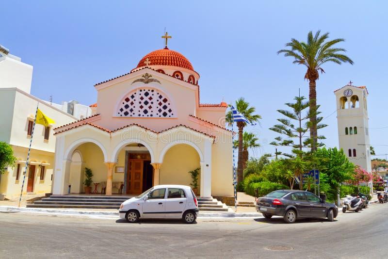 Elounda城镇教会克利特的 免版税库存照片