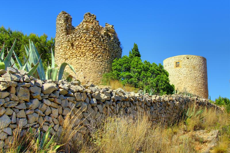 Els Molins - Javea - Costa Blanca - Spain. A View of Els Molins which are the ruins of windmills located at a high point in Javea, Costa Blanca, Spain stock image