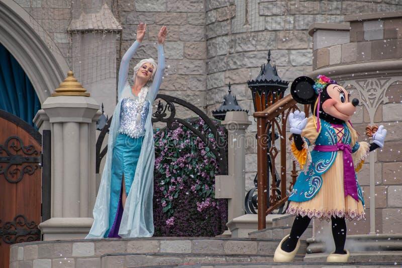 Elsa on Mickey`s Royal Friendship Faire on Cinderella Castle in Magic Kingdom at Walt Disney World Resort 6 royalty free stock images