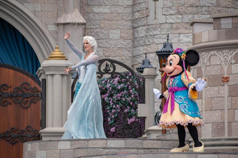 Elsa on Mickey`s Royal Friendship Faire on Cinderella Castle in Magic Kingdom at Walt Disney World Resort 10 royalty free stock photos