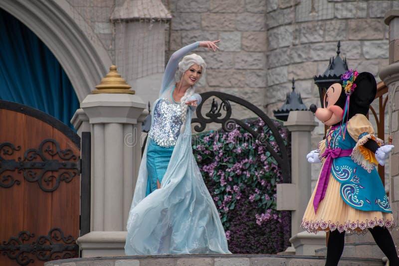 Elsa on Mickey`s Royal Friendship Faire on Cinderella Castle in Magic Kingdom at Walt Disney World Resort 12 stock photo
