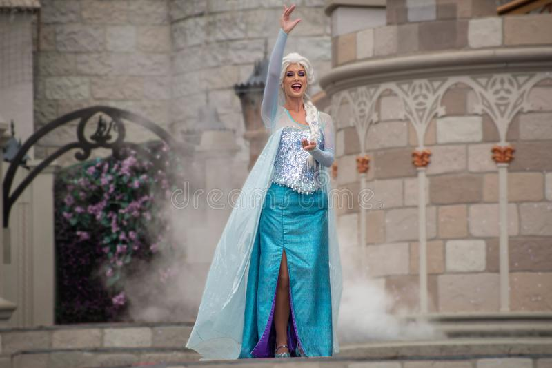 Elsa on Mickey`s Royal Friendship Faire on Cinderella Castle in Magic Kingdom at Walt Disney World Resort   1 royalty free stock image