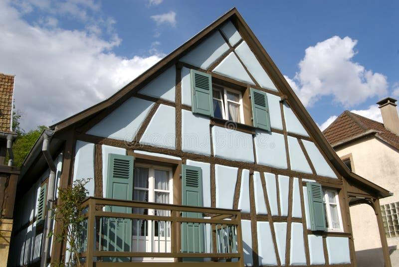 Elsassiskt Blått Hus Arkivbilder