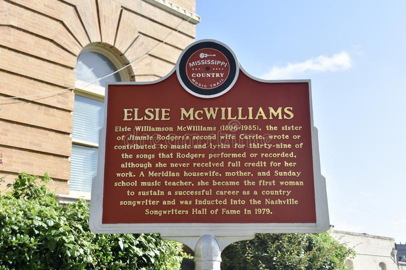 Elsie McWilliams Country Music Singer Marker stock photos