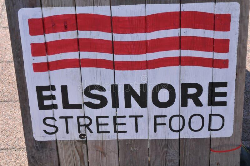 ELSINORE  STREET FOOD SIGN IN ELSINORE DENMARK. Hilsinore / elsinore  /Denmark/ 12.July 2019/ Elsinore  street food sing in  town elsinore Denmark .. Photo royalty free stock image