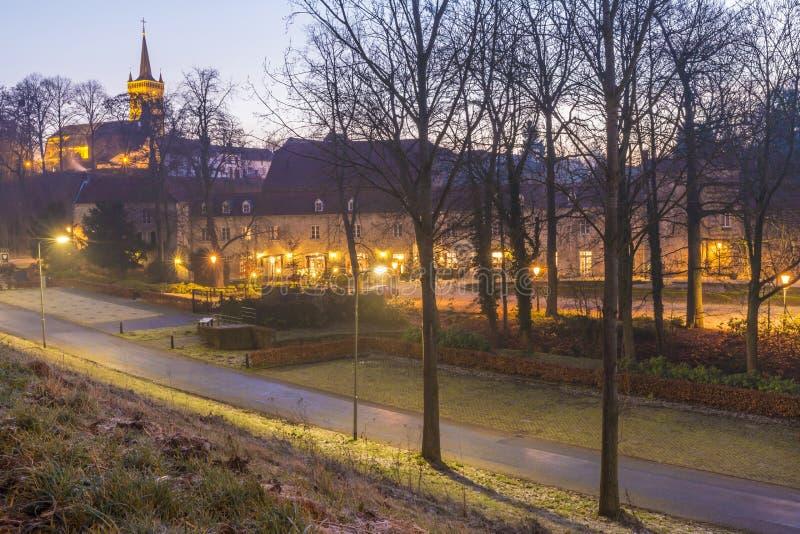 Elsloo城堡看法在黎明在与阴霾的一天 库存图片